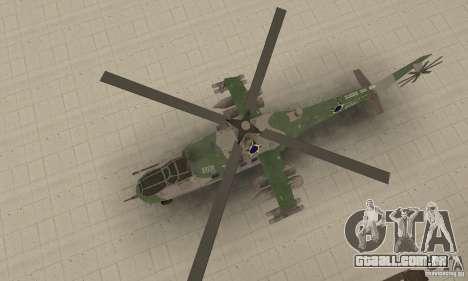 Um helicóptero do conflito de Shtorm Global para GTA San Andreas vista direita