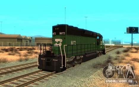Locomotiva SD 40 Burlington Northern 8072 para GTA San Andreas traseira esquerda vista