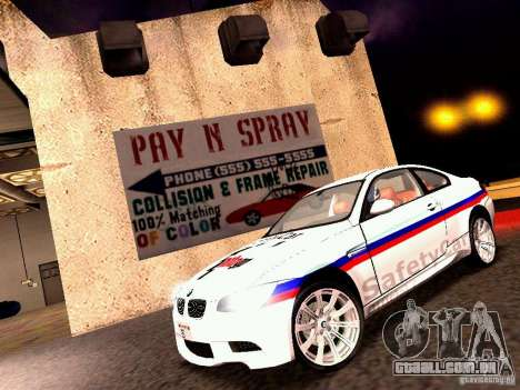 BMW M3 MotoGP SafetyCar para GTA San Andreas esquerda vista