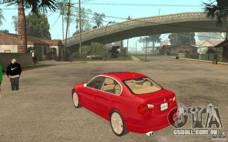 BMW 330i E90 v.2.0 para GTA San Andreas traseira esquerda vista