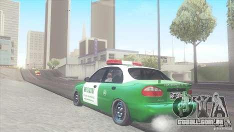 Daewoo Lanos De Carabineros De Chile para GTA San Andreas traseira esquerda vista