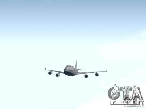Boeing 747-400 China Airlines para GTA San Andreas vista interior