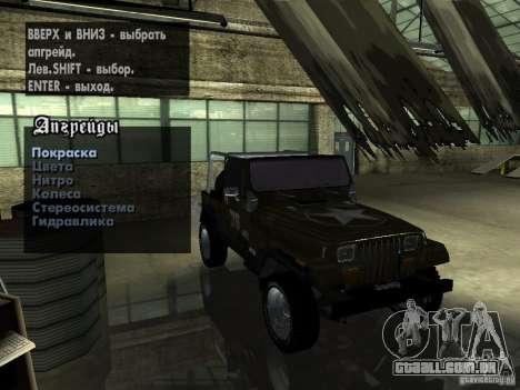 Jeep Wrangler 1986 4.0 Fury v.3.0 para GTA San Andreas vista traseira