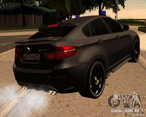 BMW X6 M E71 para GTA San Andreas traseira esquerda vista