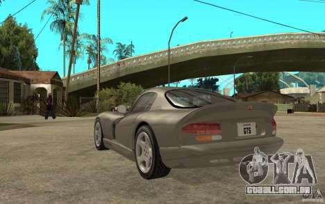 Dodge Viper GTS para GTA San Andreas traseira esquerda vista