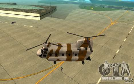 GTA SA Chinook Mod para GTA San Andreas vista superior