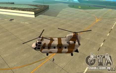 GTA SA Chinook Mod para GTA San Andreas vista superior