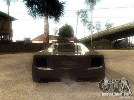 Lexus LFA Custom para GTA San Andreas traseira esquerda vista