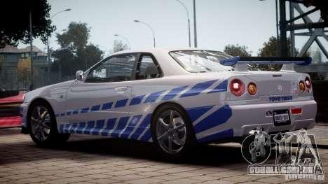 Nissan Skyline GT-R34 FNF para GTA 4 esquerda vista