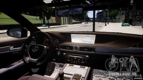 Lexus GS350 F Sport 2013 para GTA 4 vista superior