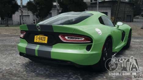SRT Viper GTS 2013 para GTA 4 traseira esquerda vista