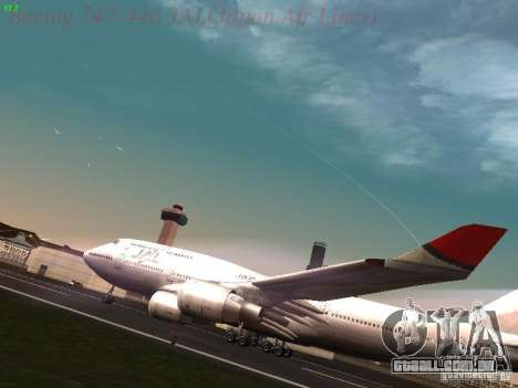Boeing 747-446 Japan-Airlines para GTA San Andreas esquerda vista