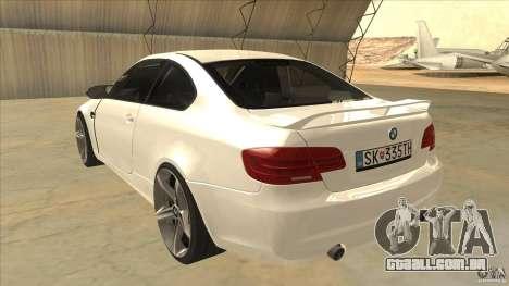 BMW 335i Coupe 2011 para GTA San Andreas traseira esquerda vista