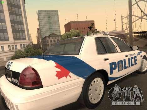Ford Crown Victoria Vancouver Police para GTA San Andreas vista direita