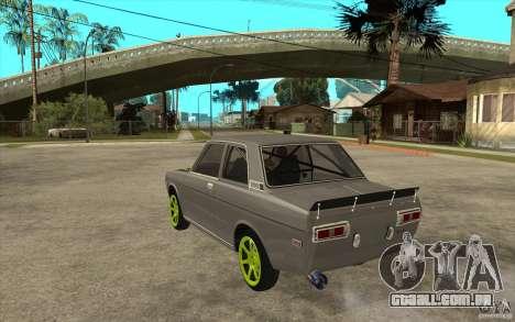 Datsun 510 Drift para GTA San Andreas traseira esquerda vista