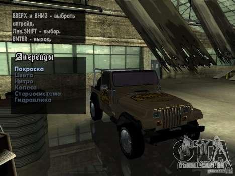 Jeep Wrangler 1986 4.0 Fury v.3.0 para GTA San Andreas vista interior