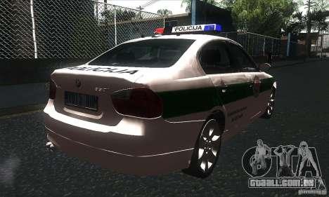 BMW 330 E90 Policija para GTA San Andreas vista direita