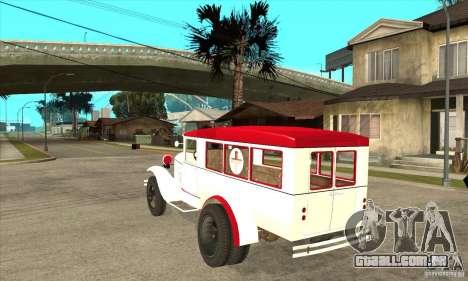 Ambulância de GAZ AA para GTA San Andreas traseira esquerda vista