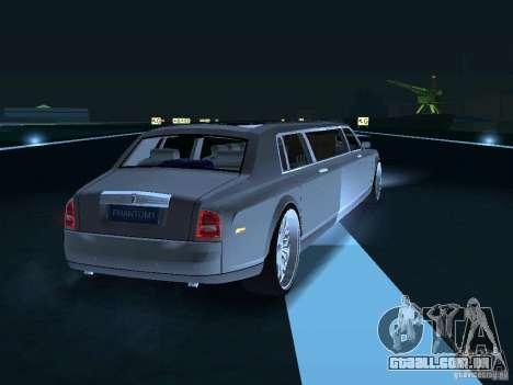 Motorista de limusine de Rolls-Royce Phantom 200 para GTA San Andreas vista traseira