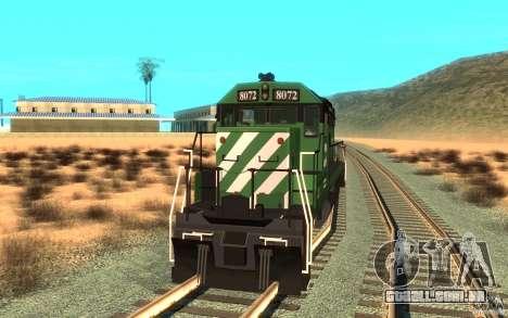 Locomotiva SD 40 Burlington Northern 8072 para GTA San Andreas vista direita