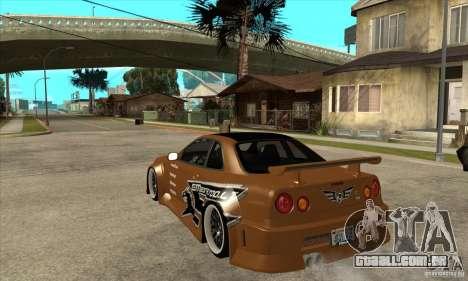 Nissan Skyline GTR - EMzone B-day Car para GTA San Andreas traseira esquerda vista