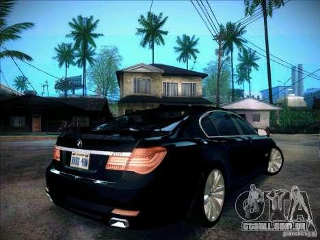 BMW 750Li 2010 para GTA San Andreas traseira esquerda vista