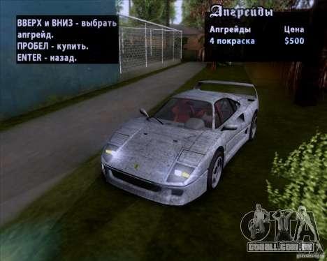 Ferrari F40 para o motor de GTA San Andreas
