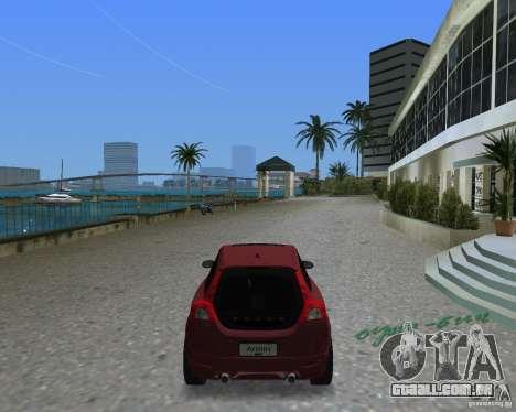 Volvo C30 para GTA Vice City vista traseira esquerda