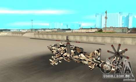 Hydra Hunter para GTA San Andreas traseira esquerda vista