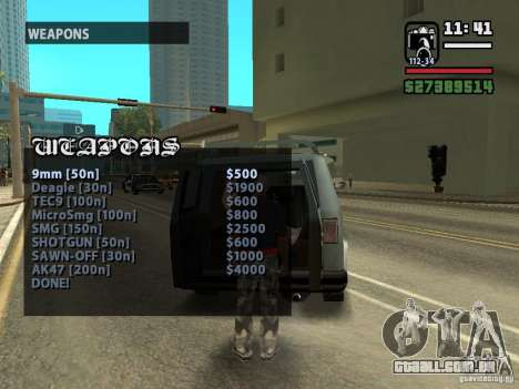 Chamada vendedor armas v 1.1 para GTA San Andreas terceira tela