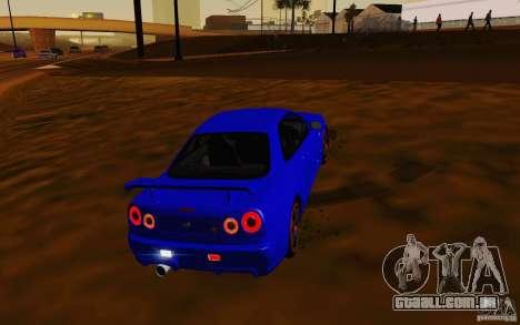 Nissan Skyline R34 GT-R V2 para GTA San Andreas vista traseira
