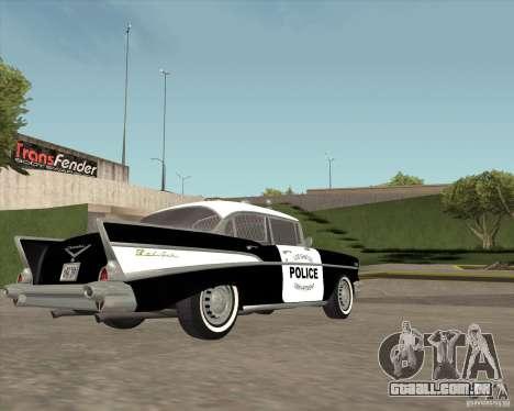 Chevrolet BelAir Police 1957 para GTA San Andreas vista traseira