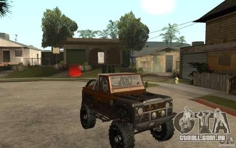 Land Rover Defender Extreme Off-Road para GTA San Andreas vista traseira