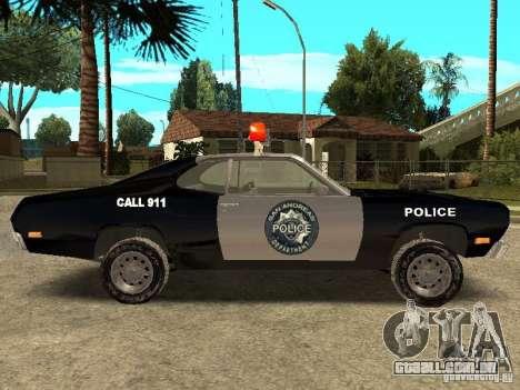 Plymout Duster 340 POLICE v2 para GTA San Andreas esquerda vista