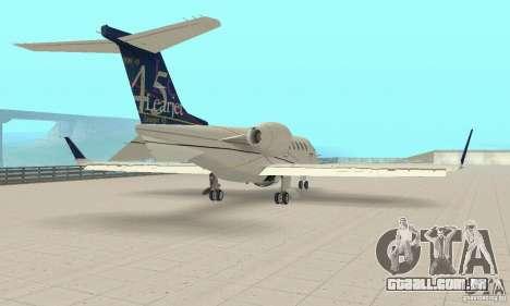 Bombardier Leardjet 45XR para GTA San Andreas traseira esquerda vista