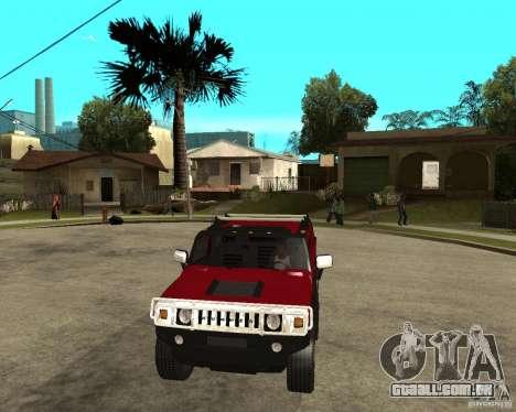 AMG H2 HUMMER SUT para GTA San Andreas vista traseira