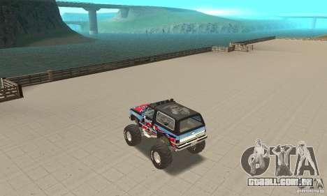 Chevrolet Blazer K5 Monster Skin 1 para GTA San Andreas traseira esquerda vista