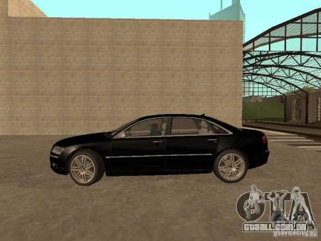 Audi A8 W12 S-Line para GTA San Andreas esquerda vista