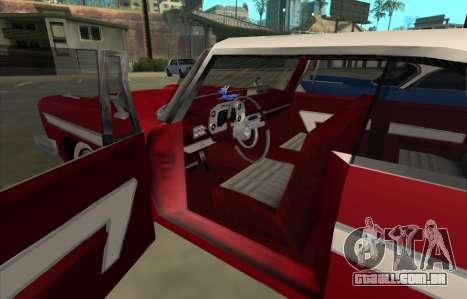 Plymouth Fury para GTA San Andreas traseira esquerda vista