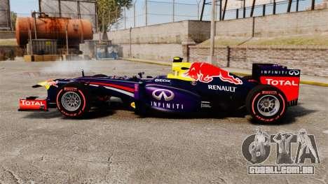 RB9 v6 carro, Red Bull para GTA 4 esquerda vista