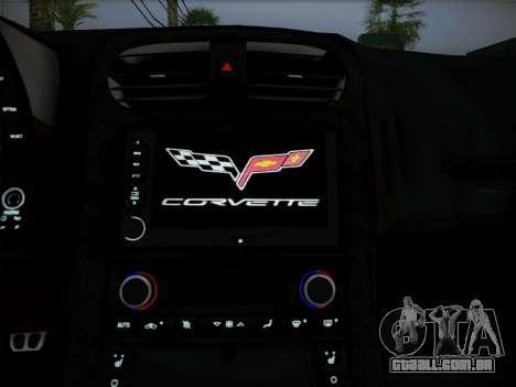 Chevrolet Corvette ZR1 2010 para GTA San Andreas vista interior