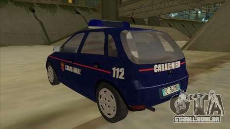 Opel Corsa 2005 Carabinieri para GTA San Andreas vista traseira