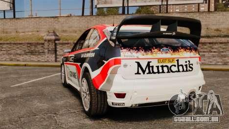 Ford Focus RS Munchis WRC para GTA 4 traseira esquerda vista