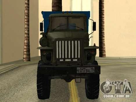 Ural 4320 Tonar para GTA San Andreas vista traseira