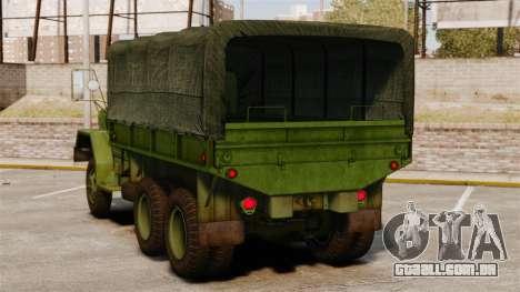 Base militar caminhão AM geral M35A2 1950 para GTA 4 traseira esquerda vista