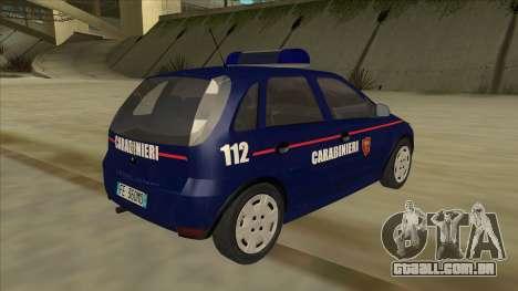 Opel Corsa 2005 Carabinieri para GTA San Andreas vista direita