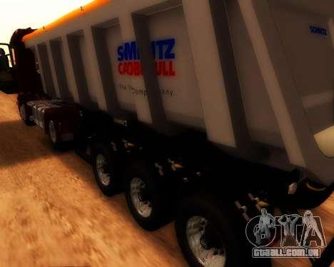 Reboque carga Schmitz Bull para GTA San Andreas traseira esquerda vista
