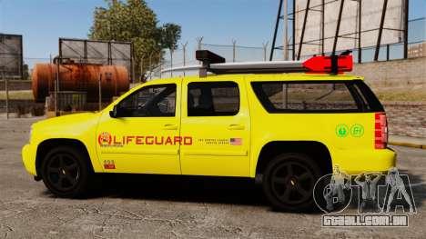 Chevrolet Suburban Los Santos Lifeguard [ELS] para GTA 4 esquerda vista