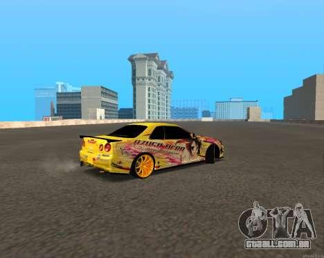 Nissan Skyline R34 Azusa Mera para GTA San Andreas traseira esquerda vista
