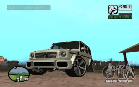 Mercedes-Benz G65 AMG para GTA San Andreas esquerda vista